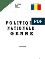 Politique Nationale Genre (PNG), République du Tchad (Décembre 2011)
