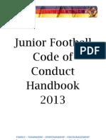 junior football code of conduct handbook 2013 final draft 02 04 2013