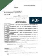 Arrête  n° 1922/PR/PM/MPEC/2012, République du Tchad (1 Avril 2012)