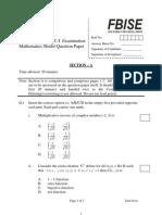 Official Mathematics Model Paper XI