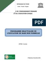 Programme réactualisé de l'Education de base non formelle, République du Tchad (Novembre 2011)