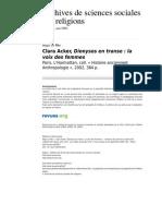 Book Rev ACKER CL. Dionysos en Transe La Voix Des Femmes