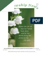 May 7, 2013 Fellowship News