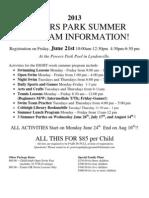 2013 Powers Park Summer Program Information