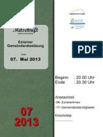 Eslarner Gemeinderatssitzungen - Mitschrift vom 07.05.2013