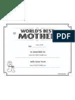Certificate Best Mother