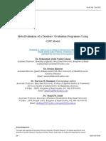 Meta Evaluation of a Teachers' Evaluation Programme Using CIPP Model