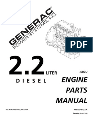 Isuzu 2 2L Diesel Engine Parts Manual PN 0D9255 | Diesel