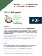 Autoresponder GVO – Automatiza Tu Marketing Por Email (Mayo 2013)