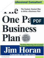 Jim Horan - One Page Business Plan - Cover
