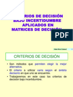 Criterios de decisi�n en matrices