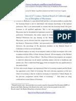 Modern Era of Discipline of Physicians in California