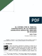 El Control Por El Tribunal Constitucional de Las Omisiones Legislativas Lesivas Del Principio de Igualdad