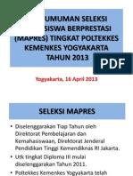 Pengumuman Mapres 12 Apr 2013
