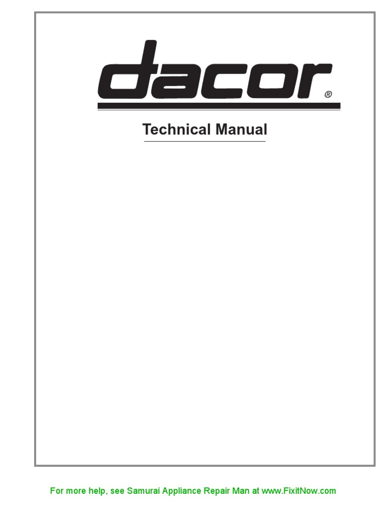 Dacor Technical Manual Electric Current Relay Wiring Diagrams Wall Oven Diagram 19