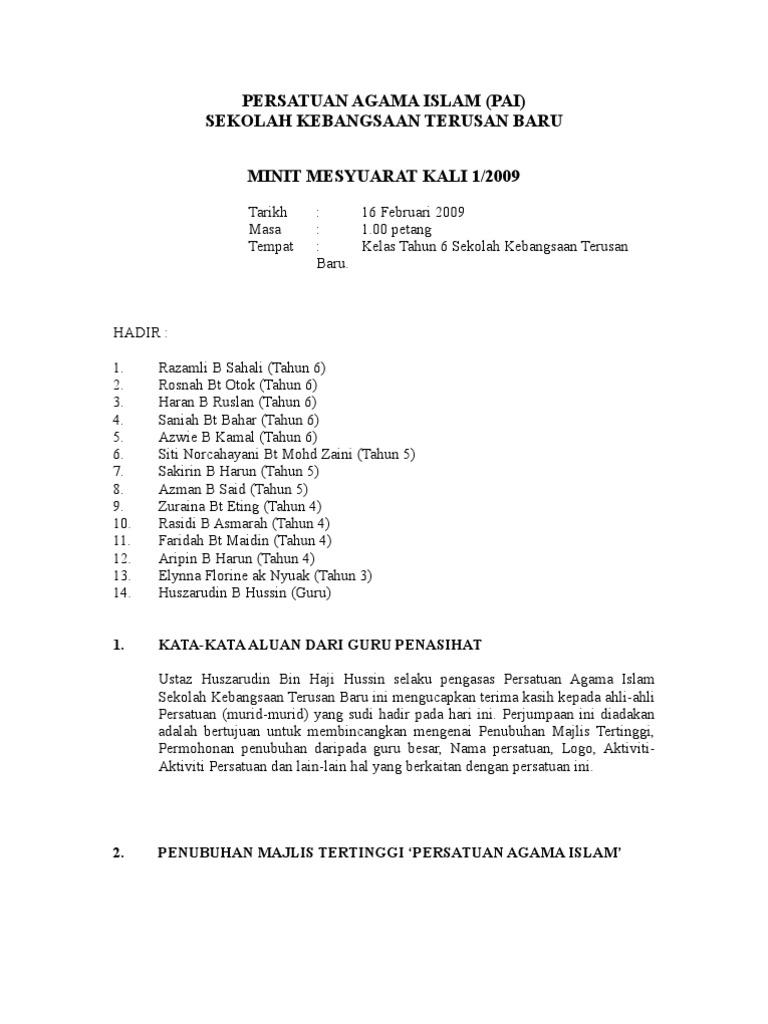 Minit Mesyuarat Persatuan Agama Islam
