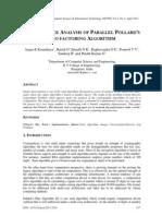 PERFORMANCE ANALYSIS OF PARALLEL POLLARD'S RHO FACTORING ALGORITHM