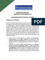Comunicado Oficial CEC Periodismo ULS 07.05.2013