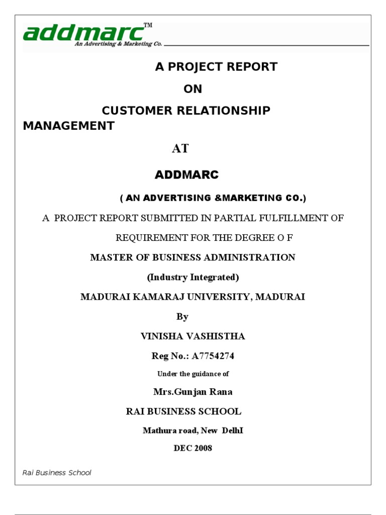 customer relationship management mba project report
