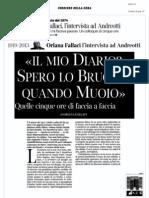 Corriere Della Sera - Dialogo Oriana Fallaci-Giulio Andreotti