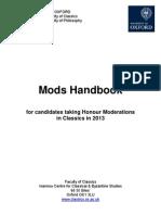Oxford University Mods Handbook 2013-Classics