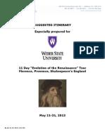 Itinerary Weber State Renaissance Europe 4.15.13.DRAFT