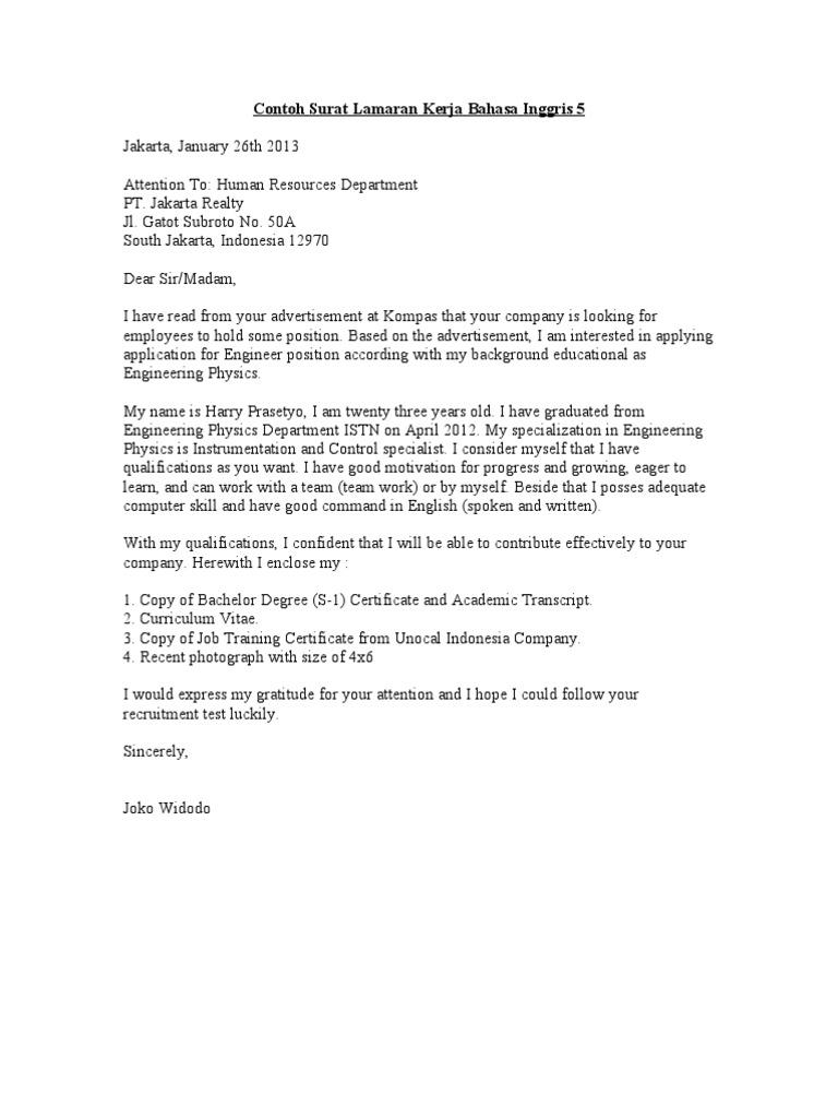 Contoh Surat Lamaran Kerja Bahasa Inggris 5 Doc Learning Cognition