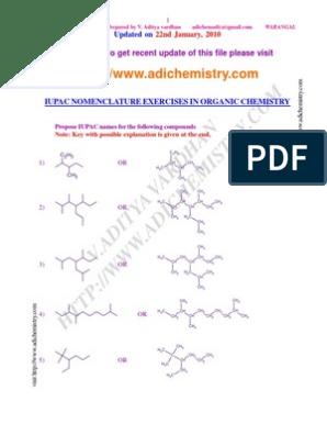 IUPAC Nomenclature Exercises in Organic Chemistry   Carbon ...