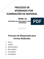TEMA 21 Procesos de Maquinado Para Formas Redondas
