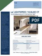 GE LightSpeed 16-Slice CT EQ#6542