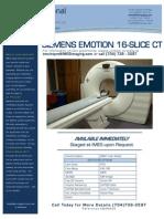 Siemens Emotion 16-Slice CT EQ#6602