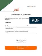 Certificado de Residencia El Arrozal