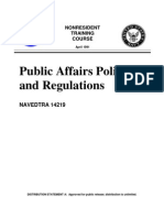 NAVEDTRA_14219_PUBLIC AFFAIRS POLICY AND REGULATIONS