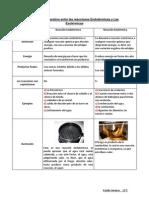 Cuadro Comparativo entre las reacciones Endotérmicas y Las Exotérmicas