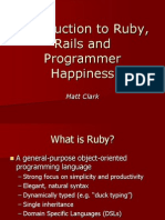 Introduction to Ruby, Rails and Programmer Happiness