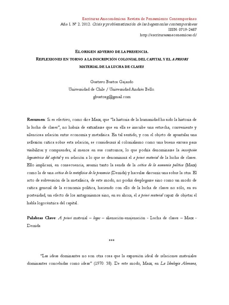 2012. Bustos, G. El origen adverso de la presencia. Reflexiones en ...