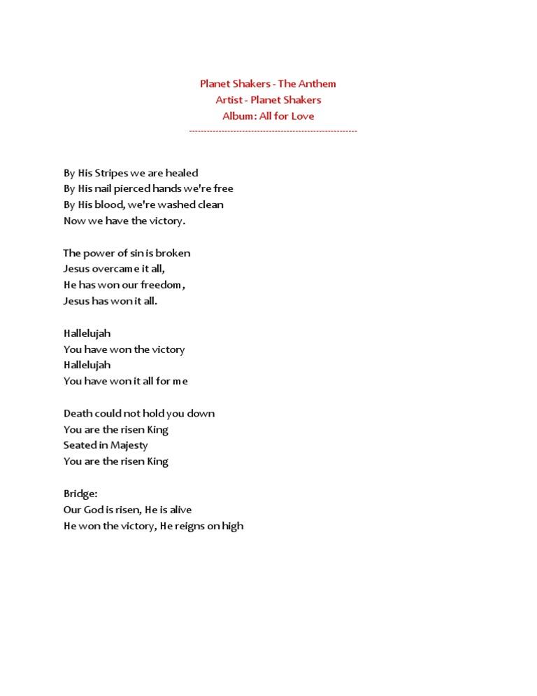 Lyric risen lyrics : Hallelujah You Have Won the Victory - Lyrics - Planet Shakers
