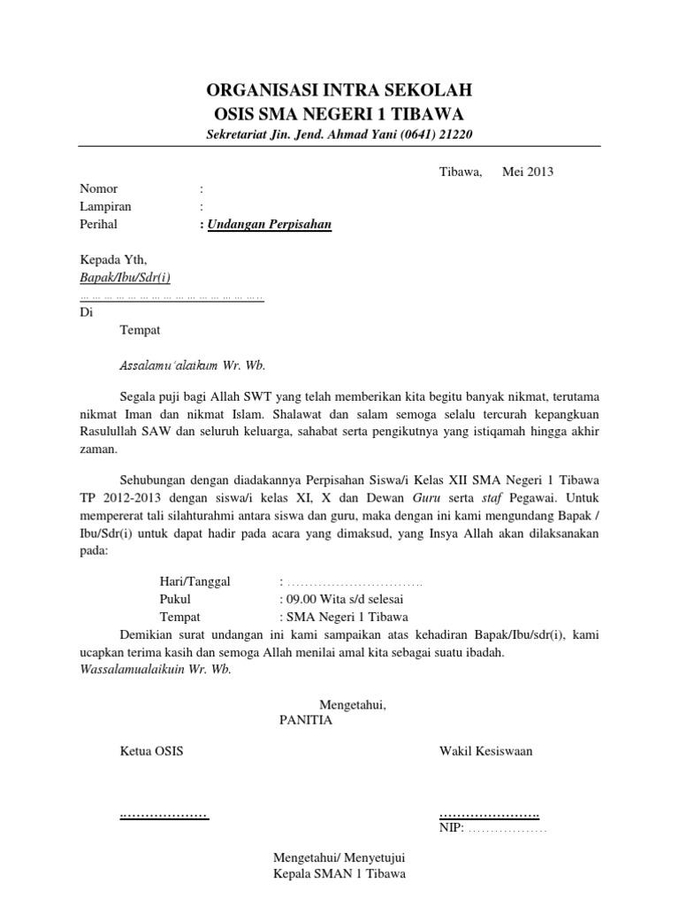 Surat Undangan Perpisahan Sekolah Rismax