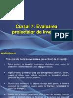 Evaluarea Proiectelor de Investitii