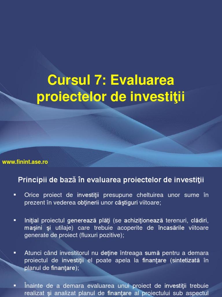 opțiuni reale în evaluarea proiectelor de investiții)