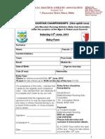 Malta National Mountain Champs 2013 Application Form