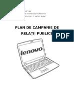 Plan de Campanie de Relatii Publice Lenovo