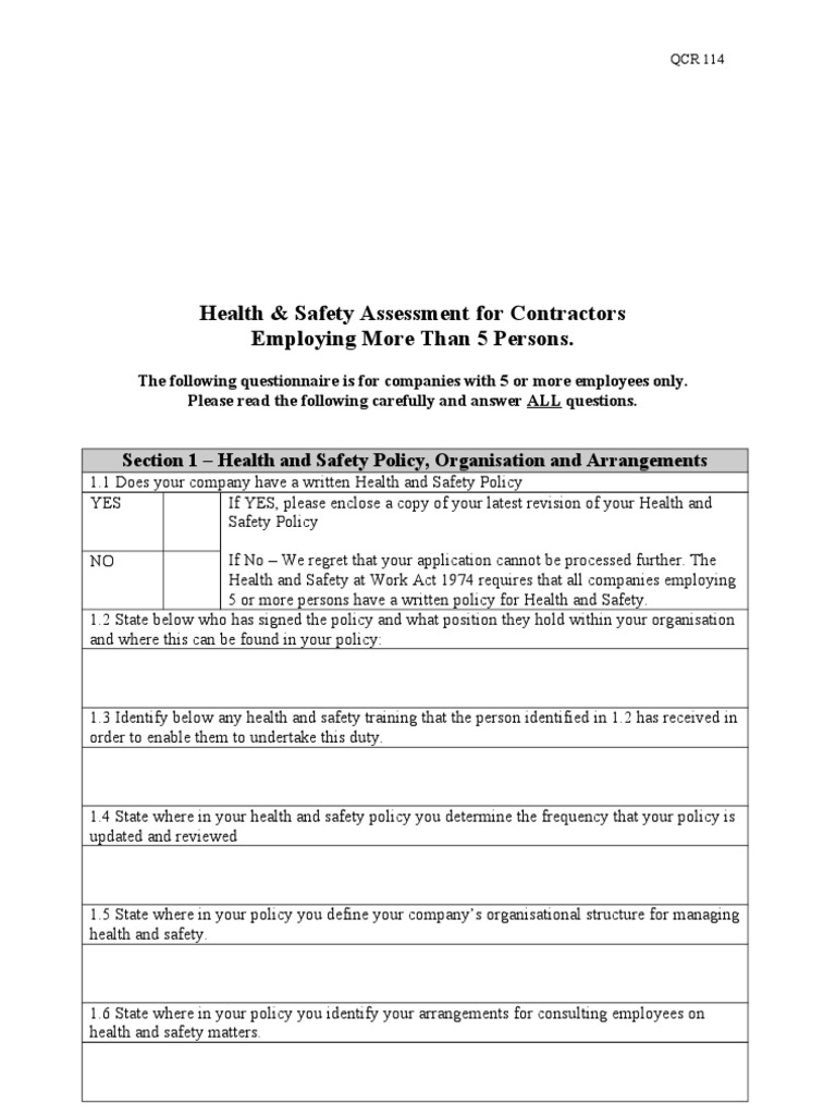 health and safety contractors questionnaire more than 5 employees occupational safety and health safety