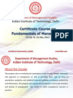 IIT Delhi Certificate Course on Fundamentals of Management