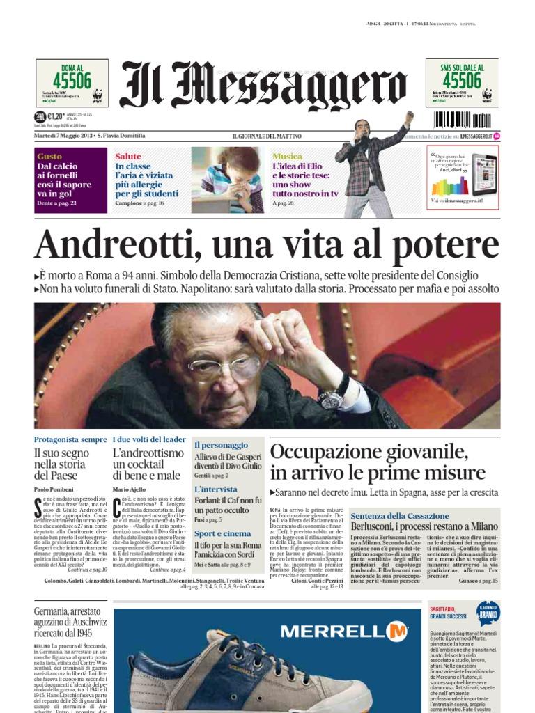 Il Messaggero 07 05 2013 Morte Andreotti