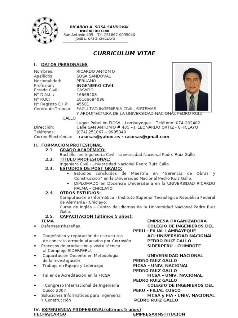 Dorable Ingeniero Estructural Curriculum Vitae India Galería ...