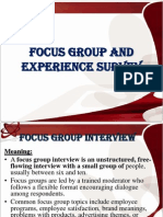 Focus Group and Experience Survey