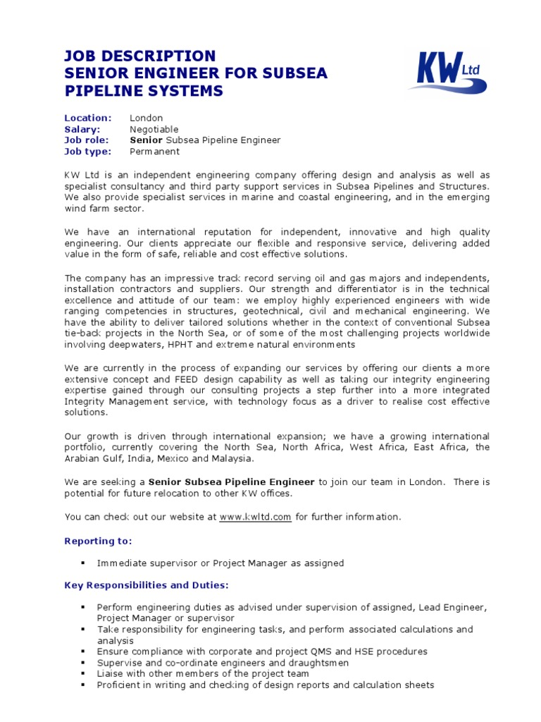 Subsea Pipeline Job Description Competence Human Resources
