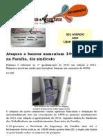 Ataques a bancos aumentam 144% em 2013 na Paraíba, diz sindicato