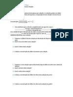 Ficha de Trabalho 7º Ano Misturas de Substâncias; Soluções